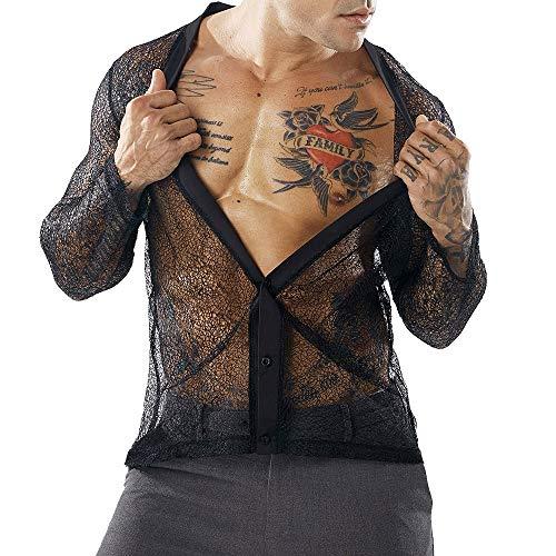 ALIKEEY Hemd Langarm/Business Freizeit Hochzeit/Bügelleicht Herren Herbst Casual Mesh Shirts Langarm Shirt Deep V Top Bluse Strickjacke