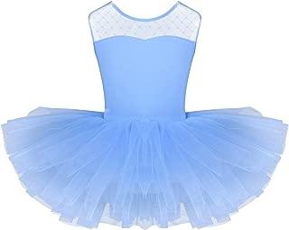 iEFiEL 2 PCS Bambina Abiti da Ballo Vestito da Danza del Ventre Moderno Jazz Body da Balletto Ginnastica Artistica Ragazza Leotard Canotta Tutu Paillettes 5-14/Anni