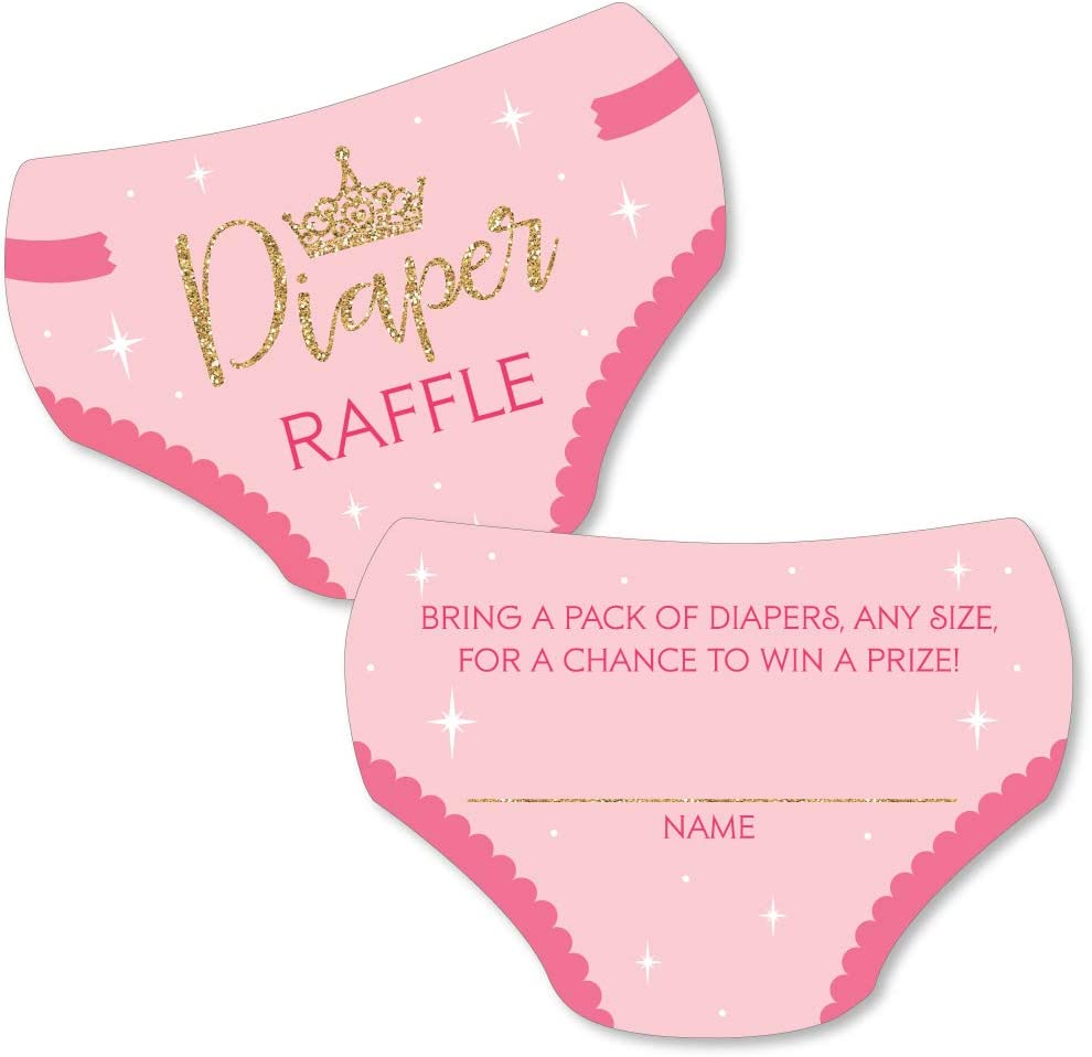 Big Dot of Happiness Little Princess Crown - Diaper Shaped Raffle Ticket Inserts - Pink and Gold Princess Baby Shower Activities - Diaper Raffle Game - Set of 24