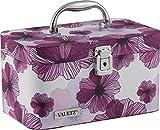Vaultz Locking Train Case for Cosmetics Storage, Purple Floral (VZ03748)