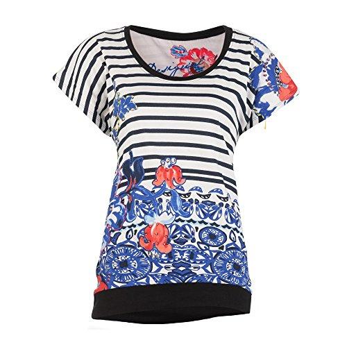 Desigual, ELOISA - Camiseta para Mujer, Blanco (ALGODÃ
