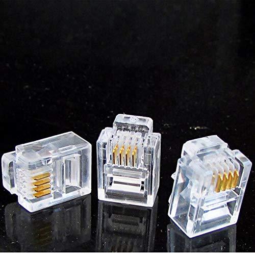 Head Head - Rj11 6p4c Modular Plug Gold Plated Network Connector Crystal Head 100pcs - Wired Headphones Basketball Racket Headbands Tape Radical Headband Connector Head Hairspray Navy Blue/o