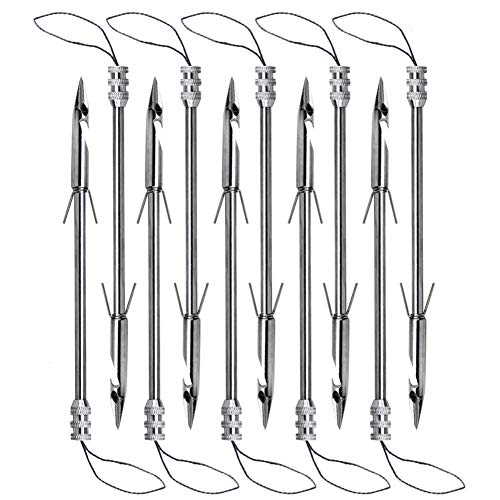 IronBuddy 10 Pack Bow Fishing Arrowheads Stainless Steel Fishing Slingshot Catapult Dart Broadheads Arrow Heads Hunting Tips Points