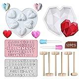 JINGYOUDAMAI Juego de moldes de silicona en forma de corazón con diamantes en 3D, mini martillo de madera, moldes de silicona para chocolate, letras, números, forma de corazón