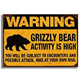 HUABEI Grizzly Bear Activity is High Warning Signs, Retro Vintage Decorative Sign