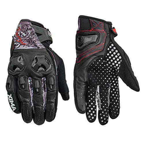 LEXIN Motorradhandschuhe, Touch Screen Handschuhe für Motorräder, Leder Handschuhe Wasserdicht Lila zum Motorradfahren oder Outdoorsports XL