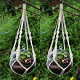 YCDC Macrame Hanging Planter 76cm/30inch Flower Vase Basket Holder Rope with Hoop,Rural Life Office Balcony Windows Pot Hanger 2Pcs