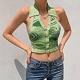 FSUYWQ Las Mujeres Imprimen el Verano con Cuello en V de Punto Camisola Casual Camiseta Delgada M Verde
