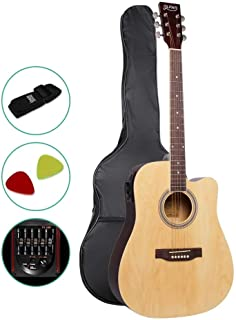41 Inch Electric Acoustic Guitar Wooden Folk Classical D Shape Full Size Cutaway Natural Strings Carry Bag Shoulder Strap Picks ALPHA