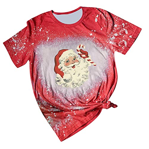 Christmas Shirts for Women Tie Dye Tops Short Sleeve T Shirt Cute Christmas Santa Claus Graphic Tees Casual Blouse Tunic Red