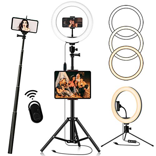 """Ring Light with 76.7"""" Extendable Tripod Stand and 2-in-1Phone/Tablet Tripod, 12-inch Selfie Ring Light Full Kit, Dimmable Desk Makeup Circle Led Ring Light for TikTok, 3 Modes 10 Brightness Levels"""