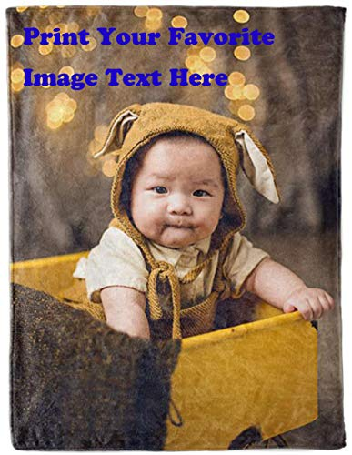 Qihua Personalized Customize Throw Blanket Made Custom from Your Photo INTO Soft Fabric Velvet Plush Fleece Keepsake Gift Personalized with Your Photo Image Or Text Picture Printed (Small 40'X50')
