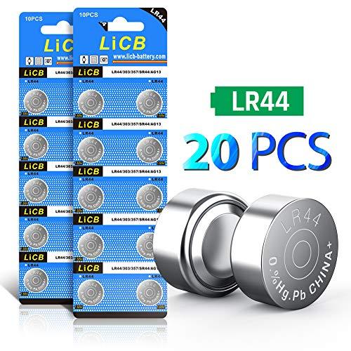 LiCB 20 piezas LR44 AG13 357 303 SR44 A76 pilas botón 1,5 V