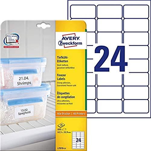 AVERY Zweckform L7970-25 Tiefkühl-Etiketten (63,5x33,9 mm auf DIN A4, selbstklebend, temperaturbeständige und tiefkühlfeste Aufkleber für Gefriergut, bedruckbar) 600 Stück auf 25 Blatt weiß