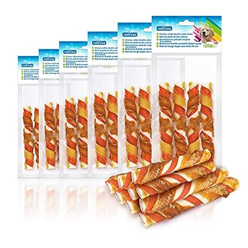 Nobleza - Snacks para Perros - Palitos de Piel de Vacuno Enrollados de Pollo - Chuches Natural para Perros - Golosinas para Perro - Premios y Recompensas para Perros - L12.5 cm, 6 Bolsas x 120 gr