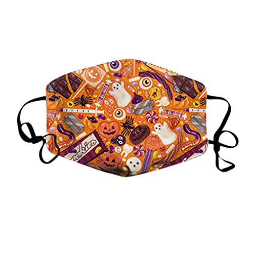 riou Halloween Mundschutz mit Motiv Waschbar Baumwolle Stoff Wiederverwendbar Staubdicht Mund und Nasenschutz Halstuch für Damen Herren