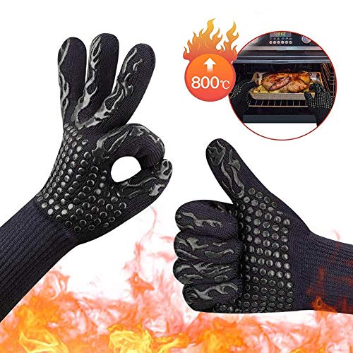 FULUWA 1 Pair Ofenhandschuhe, Hitzebeständige Grillhandschuhe 1472°F 800°C Handschuhe zum Backen zertifizierter Handschuhe zum Backen Schwarz B