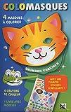 Colomasques animaux familiers : Avec 4 masques à colorier, 4 crayons de couleur, 1 livre avec modèles, 1 planche de stickers scintillants