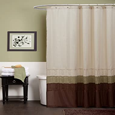 Lush Decor Mia Shower Curtain, Green/Brown