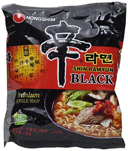 Nong Shim Instantnudeln Shin Ramyun Black – Koreanische Rindfleisch Ramen Suppe scharf mit Knoblaucharoma - schnelle Zubereitung – 4er Vorteilspack à 130g