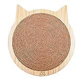 HC Almohadillas para arañar en forma de gato para gatos y gatitos, rascador de pared de sisal con fuerte chubasquero, muebles de madera para gatos (L)