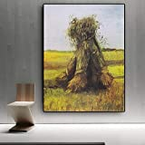 wZUN Las gavillas de Trigo en los Campos de Van Gogh se copian en Lienzo. Carteles y Grabados. Mural en el salón 60x80cm