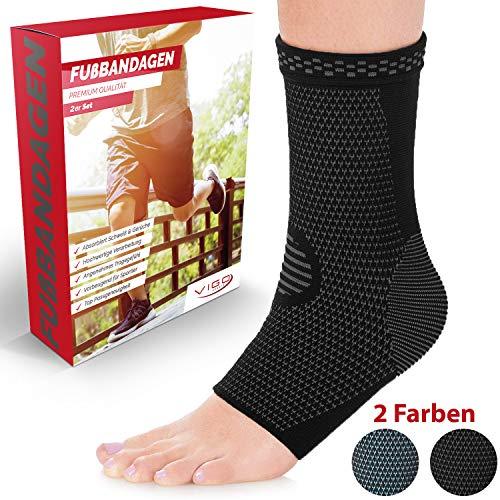 Vigo Sports Sprunggelenkbandage [2er Set] absorbiert Schweiß & Gerüche - Knöchelbandage zur Stabilisierung am Fußgelenk (Schwarz, L)
