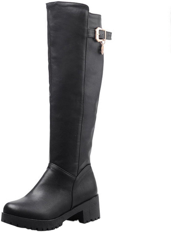 AicciAizzi Women Casual Knee High Riding Boots Block Heel