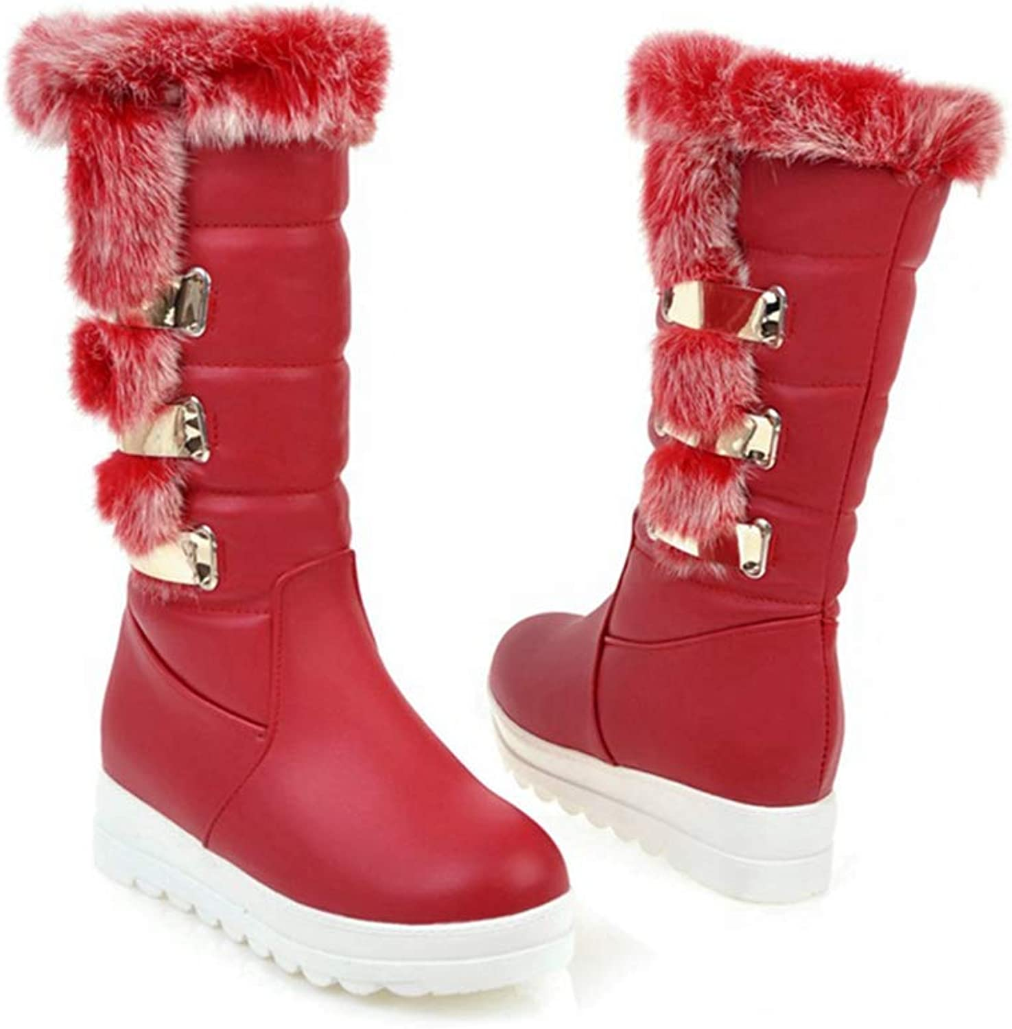 T-JULY Women's Winter Snow Boots Wedge Platform Plush Footwear Mid Calf shoes