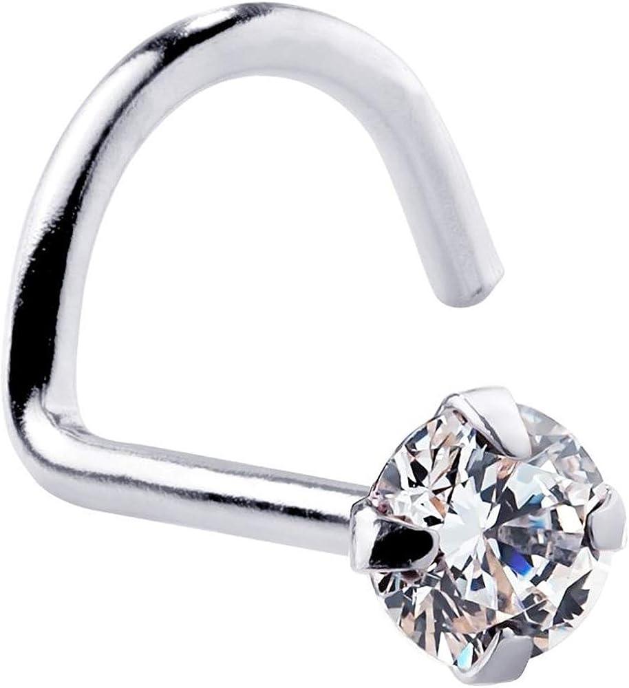 FreshTrends Cubic Zirconia Nose Ring Twist - Nickel-Free 14K White Gold Nose Screw - 1.5mm, 2mm, 3mm Stud 20 Gauge