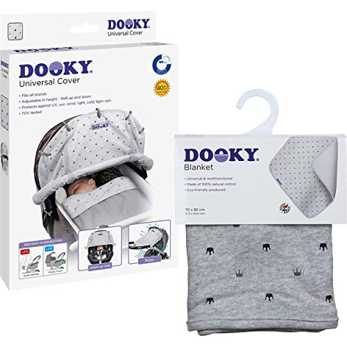 Original Dooky Combi Pack Cover & Decke im Light Grey Crown Design Universal Sonnenschutz, Wetterschutz Set für Babyschale, Kinderwagen und Buggy (universale Passform mit Klettband, UV-Schutz LSF 40+)