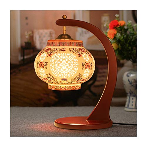 Lámpara De Mesa China Creativa, Luz De Escritorio De Decoración De Cerámica Colorida, Interruptor De Botón E27, Sala De Estar Sofá Dormitorio Estudio Lectura XBDTD