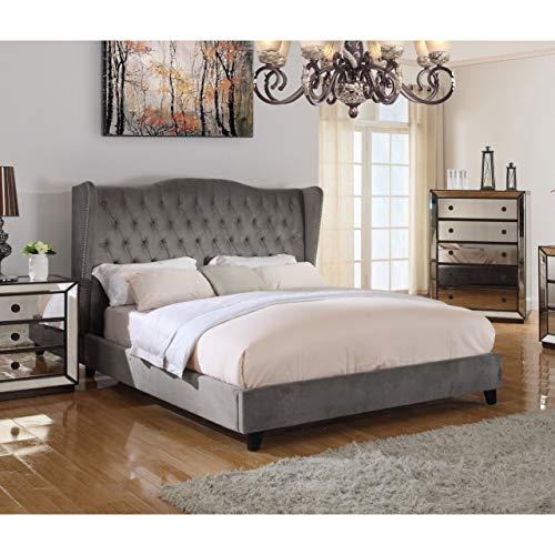 Best Master Furniture Talia Tufted Velour Platform Panel Bed, Queen, Grey