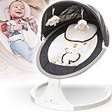 Babyschaukel (vollautomatisch 240V) mit Baldachin Musik über USB Anschluss 12 Melodien 5 Schaukelintensitäten Timerfunktion und Fernbedienung (Melange Anthrazit)