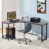 Symylife L Shaped Office Desk, Computer Corner Desk with Round Corner, Home Office Desk Gaming Desk with Host Board,Office Study Writing Table Workstation, Black Oak