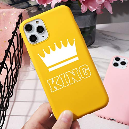 Pnakqil Cover iPhone 5 / SE / 5s, Ultrasottile Morbida Silicone Protettiva Colore Candy Giallo Impermeabile Antiurto Disegni San Valentino Regalo Custodia per iPhone 5 / SE / 5s,Corona