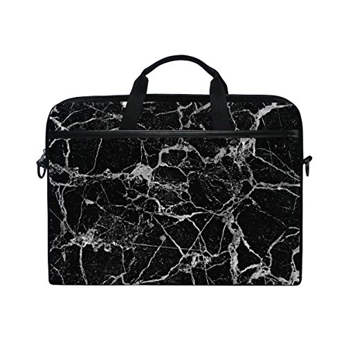 Laptop Case, Black Marble Personalised 3D Printed with 3 Compartment Shoulder Strap Handle Canvas Notebook Computer Bag Perfect for 13 13.3 14 15 inch