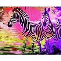 数字でペイント2つのシマウマDIY油絵キャンバスに数字でフレームレス動物デジタル手描きの装飾