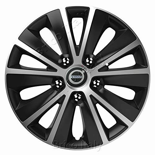 """4 Copricerchi auto universali SPARCO mod LAZIO borchie 14/"""" nero e silver in ABS"""