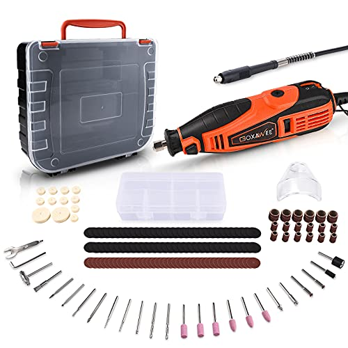 GOXAWEE Rotary Tool Kit with 180 Rotary Tool Accessories & Flex Shaft & Universal Collet, 5 Variable Speed Rotary Multi-Tool, Mini Electric Drill Set for Crafting DIY Project