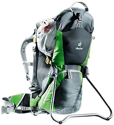 Deuter Kid Comfort Air Child Carrier for Hiking, Granite/Emerald