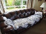 HUAHOO Genuine Grey Sheepskin Rug Gray Double Pelts Real Sheepskin Blanket Natural Fur (Double/2ft x 6ft, White/Grey)