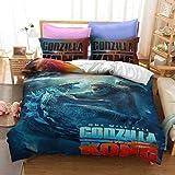 QWAS Godzilla - Juego de funda de edredón Godzilla de microfibra, fácil...