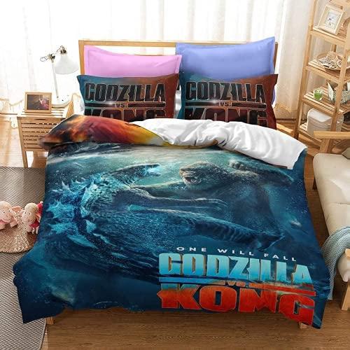 QWAS Godzilla - Juego de funda de edredón Godzilla de microfibra, fácil cuidado, 1 funda de edredón y 2 fundas de almohada (godzilla4,155 x 220 cm + 80 x 80 cm)