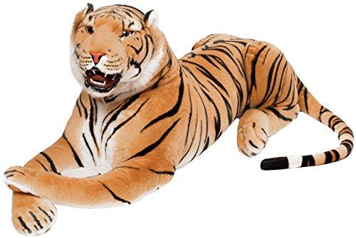 Brubaker Brüllender Tiger - Kuscheltier mit Zähnen Braun 130 cm - liegend lebensecht Stofftier Plüschtier - König des Dschungels