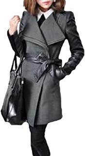 Macondoo Womens Fall Winter Stitching Outwear Oblique Zipper Contrast Pea Coat
