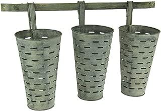 Weathered Galvanized Finish Wall Mounted 3 Piece Olive Bucket Planter Set