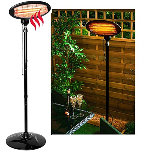 YIDPU Patio Heater, Outdoor Vertical Stainless Steel Electric Heater 2000w-3 Kinds of Heating Power Adjustable, Angle and Height Adjustable. Suitable for Family or Outdoor