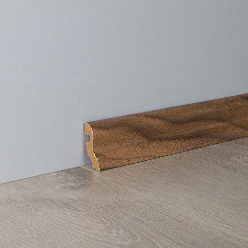 Sockelleiste Fußbodenleiste S-Profil aus MDF in Nussbaum Superglanz 2600 x 20 x 40 mm
