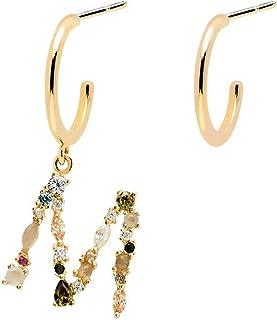 PDPAOLA - Orecchini Lettera M - Argento Sterling 925 Placcato in Oro 18 carati - Gioielli per Donna
